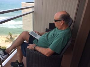 Larry on the hotel balcony, Tel Aviv
