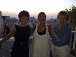 Enjoying a Tel Aviv sunset before the rocket attacks are (from left): Author Dr. Pamela Peled, Rabbi Lynnda Targan, author and tour guide Judy Goldman